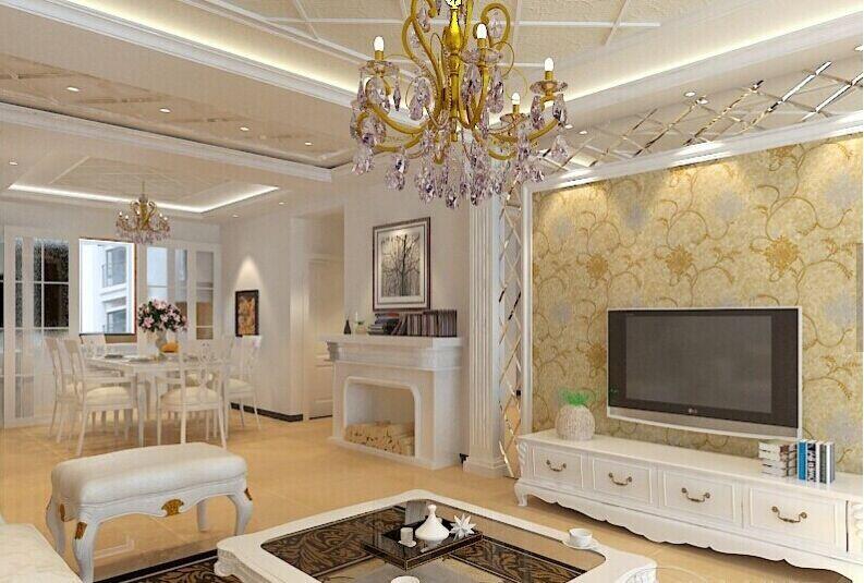 欧式风格客厅石膏线背景墙