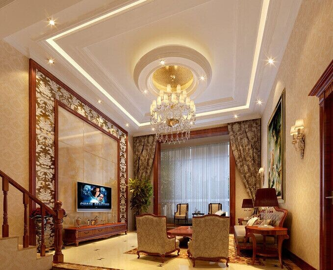 现代风格客厅石膏线背景墙装修效果图